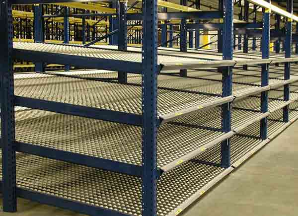 gravity flow racking in warehouse